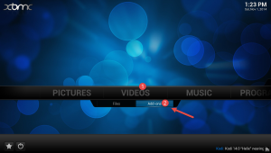 Once you have restarted XBMC, you need to go to Videos > Addons