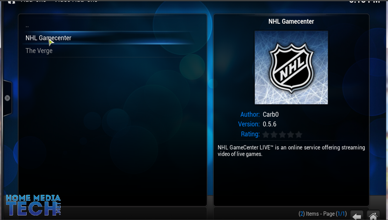 nhl gamecenter xbmc